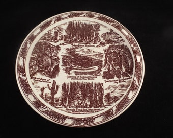 """Carlsbad Caverns New Mexico Collector Plate, by Vernon Kilm, 10.25"""" Brown and Beige Plate, Vintage Historical Plate GIft under 10"""