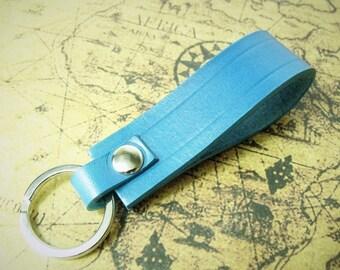Turquoise leather keyfob, keyring high qaulity leather handmade