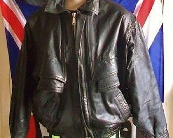 "Vintage/Retro Black Leather Bomber Jacket.Men.SIZE LARGE.42/44""chest"