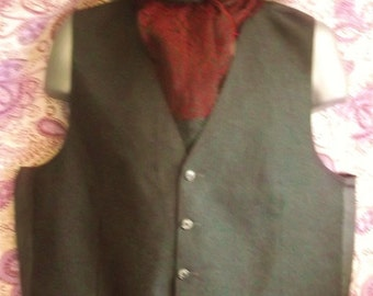 True Vintage-grey wool pinstripe mens Steampunk/Avant guarde waistcoat-chest 46""