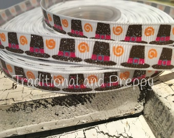 "3 yards 3/8"" THANKSGIVING Pink PILGRIM Glitter HAT  Grosgrain Ribbon"