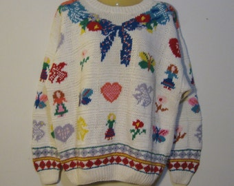Vintage windowpane sweater with bows, floral, hearts, birds, girls, butterflies. Oversize Fit, stunning design. Handknit XL extra Large