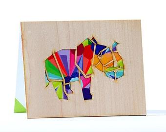 Blank Greeting Card, Note Card, Unique Card, Modern Card, Wood Card, Art Holidays Card, Art Blank Card, Elephant Card, Abstract Card