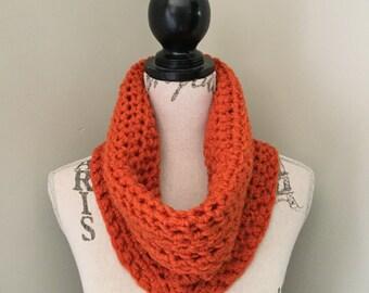 Infinity scarf, Crochet cowl, crochet infinity scarf in pumpkin orange