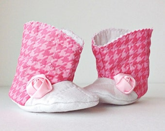 Pink houndstooth baby cowgirl boots, pink baby booties, baby footwear, new baby gift