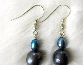 Black Pearls Earrings Sterling Silver