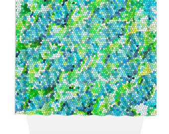 Shower Curtain, Home Decor, Bathroom Decor, Mosaic Seaglass