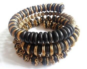 ebony bracelet, ebony memory bracelet, ebony and brass bracelet, handmade bracelet, rustic bracelet, black bracelet, bracelet for her