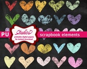 Chalk hearts clipart, Digital collage sheet, Colorful Valentine's Day scrapbook embellishments, Printable elements for instant download