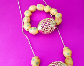 Matching African Beads Set-Yellow and Gold