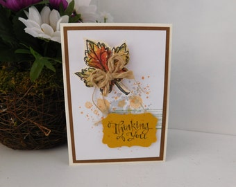 Fall Leaf Grunge Thinking Of You Card