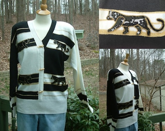 Sequined Beaded Crazy Cat Lady Cougar Black and White Sweater from Lillie Rubin, Size M from 1980s or 190s