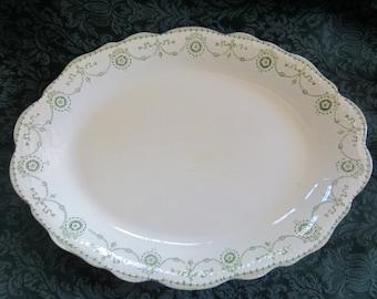 Vintage Cream Platter With Green Design - JHW & Sons - Hanley England - Semi Porcelain - Invictus