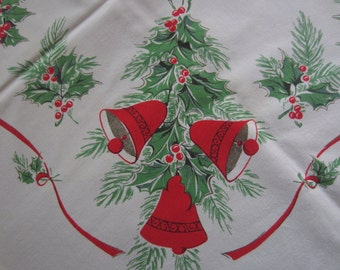 Vintage Christmas Tablecloth - Bells Tablecloth - Candles Tablecloth - Red And Green Colored Tablecloth