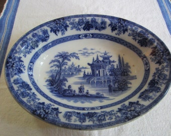 Antique Doultan Burslem Flow Blue Bowl - Blue And White Bowl - England China - China Bowl  - Madras Pattern