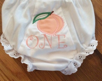 Peach bloomer 1st birthday panty cover diaper cover