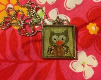 Little Owl Textile Art Pendant