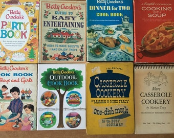 Qty 8 Mid century hardcover cookbooks Betty Crocker, Cambell's, and 2 fifties casserole books an instant collection great for a chef or cook