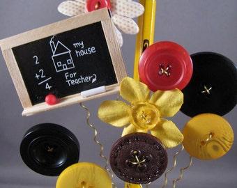 Button Bouquet Salt Shaker Button Flowers Back to School