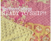 Baby Quilt // Girl Quilt// Ready to Ship // Baby Blanket // CRiB Size - Shabby Chic, Luxe, Nursery, Bedding, Quilt