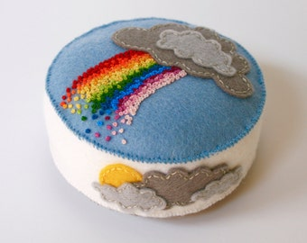 felt rainbow and clouds pincushion, hand embroidered