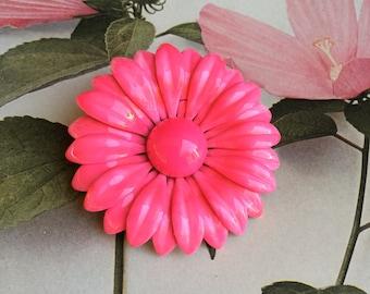 1960's Enamel Bright Pink Gerbera Daisy Brooch