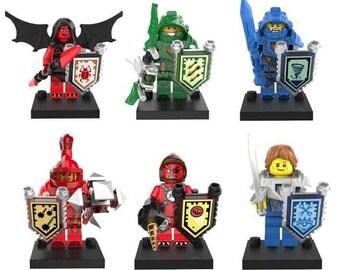 Lot of 6 figures Lego nexus Knights Soldiers Knights (Clay, Aaron, Macy, Robin, wash it, Beast Master) customized