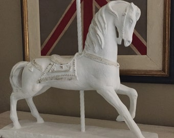 White Carousel Horse Hand Painted Large Horse Statue French Nursery Decor