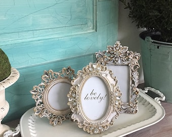 Wedding Picture Frames For Her Crystal Gold French Painted Frames Set of 3