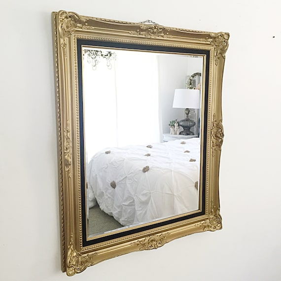 Large wall mirror antique mirror gold framed by farmhousefare for Leaning wall mirror