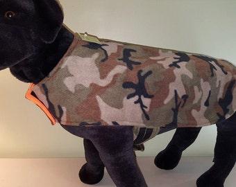 Reversible Fleece Dog Coat, Winter Dog Coat, Hunter Orange & Camo  Dog Coat, Dog Clothing, Dog Apparel