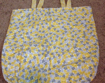 Yellow and grey flower tote bag