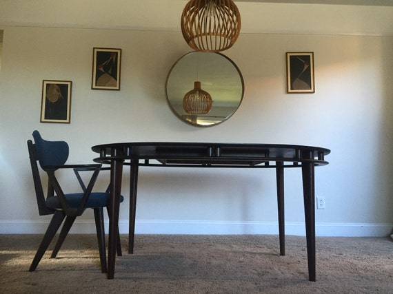Mid Century Modern Kalpe Walnut Dining Table And Chair Set