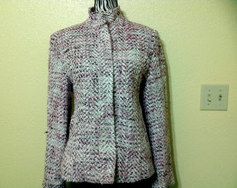 Vintage Fuscia,Marron & White Plaid Check Wool Blend Jacket Womans,Plaid Wool Jacket ,outwear size S-M