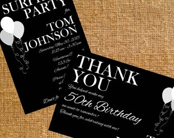 Customized Birthday Invite and Thank You (Black and White) - Digital File