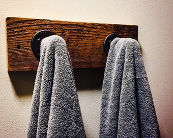 Reclaimed Wood  & Iron Bath Towel Hooks or Coat Rack
