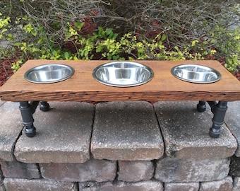 Reclaimed Wood & Iron 3 Bowl Pet Feeder For Medium Dogs