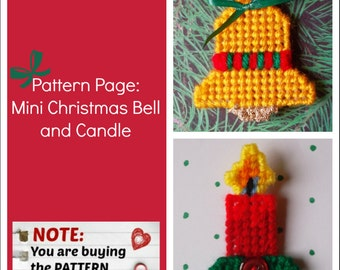 "Plastic Canvas Pattern Page: ""Mini Christmas Bell and Candle"" (2 designs, graphs and photos, no written instructions) ***PATTERN ONLY!***"