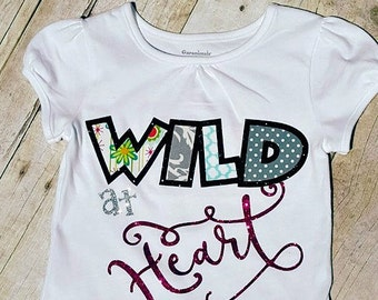 """Little girls """"Wild at heart"""" shirt and your choice of matching pinwheel bow OR headband set"""