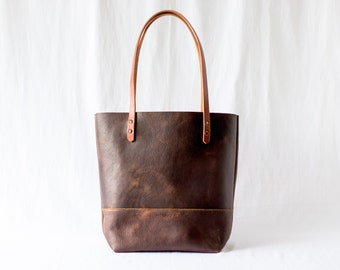 Large Tote Bag - Henna Brown Leather
