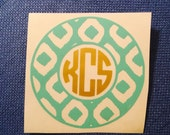 Monogram Decal, Ikat pattern decal