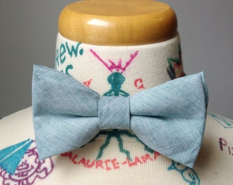 Light turquoise bowtie - recycled vintage cotton- groomsmen - rustic wedding - southern gentleman
