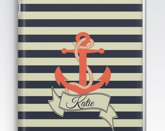 iPad Air Case, iPad Air 2 Case, iPad 1 Case, iPad 2 Case, iPad 3 Case, iPad Mini 1 2 3 4 Case - Nautical Stripes & Anchor Personalised Case