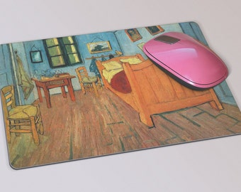 Fabric Mousepad, Mousemat, 5mm Black Rubber Base, 19 x 23 cm - Bedroom in Arles by Impressionist Artist Vincent Van Gogh Mousepad Mousemat