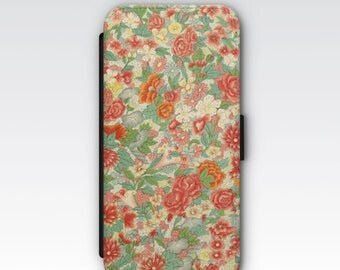 Wallet Case for iPhone 8 Plus, iPhone 8, iPhone 7 Plus, iPhone 7, iPhone 6, iPhone 6s, iPhone 5/5s -  Vintage Chinese Red Floral Pattern
