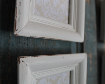 Vintage Shabby Chic Farmhouse Cottage Style Wood Picture Frames - Set of 4