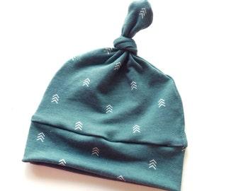 Baby Hat, Green Broken Chevron Beanie, Top Knot Beanie, Green Hat, Newborn Hat, Soft Hat, Baby Shower Gift