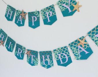 Birthday banner, mermaid themed banner, mermaid birthday banner