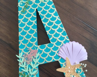freestanding letter photoshoot prop, paper mache letter, mermaid theme photo prop, birthday photoshoot prop, under the sea photoshoot prop