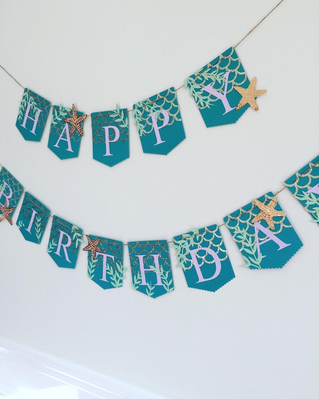 Birthday Banner Mermaid Themed Banner Mermaid Birthday
